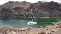 We had to use a bow and stern anchor to keep the boat off of the rocky shores on the side of this little pocket cove.