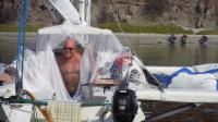 This old mosquito net was aboard Gazelle from the summer sailing in BC so we pressed it into service the next day once the bees had left the interior.  Problem solved.