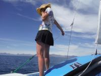 I was so excited to pick up a little cell reception as we sailed by Loreto and called mom and dad.